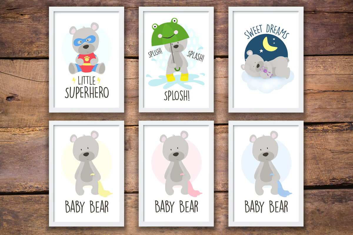 Nursery Teddy Bear Wall Art Prints