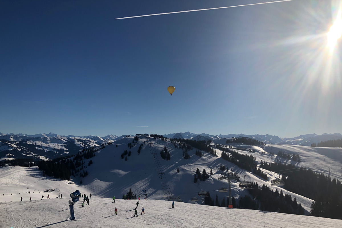 SkiWelt panorama with hot air balloon