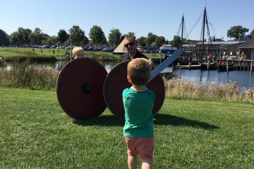 Family pretending to be vikings